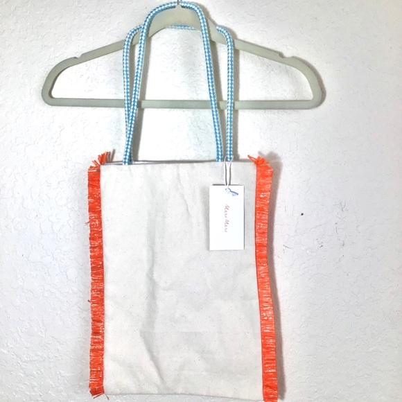NWT Meri Meri Canvas Tote Bag with Fringe Trim.